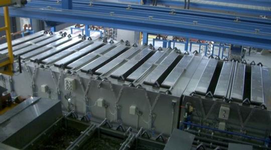 Vista del horno de polimerizado Herlo de 7 posiciones instalado.